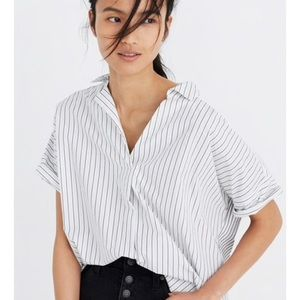 MADEWELL | Courier Button Back Shirt, Stripe Play